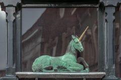 Estatua de un unicornio fotos de archivo