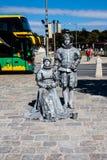 Estatua de vida - dos personas de plata en Viena foto de archivo libre de regalías