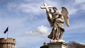 Estatua del ángel en Roma almacen de video