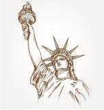 Estatua del amanecer de la mano de la libertad ilustración del vector