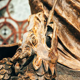 Estatua del arcángel Michael With Outstretched Wings Before C roja Imágenes de archivo libres de regalías