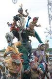 Estatua del arte del cartón piedra de Las Fallas antes de la quema en Valencia imágenes de archivo libres de regalías