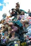 Estatua del arte del cartón piedra de Las Fallas antes de la quema en Valencia fotos de archivo libres de regalías