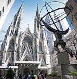 Estatua del atlas y de St Patrick Chruch Fotos de archivo libres de regalías