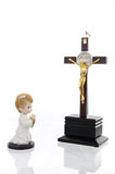 Estatua del bebé cruzado y pequeño Imagen de archivo libre de regalías