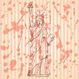 Estatua del bosquejo de la libertad, fondo del vector Imagen de archivo libre de regalías