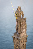 Estatua del caballero Bruncvik en Praga foto de archivo libre de regalías