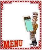 Estatua del cocinero con el menú en blanco Fotografía de archivo