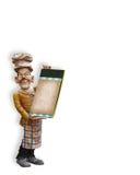 Estatua del cocinero con el menú en blanco Imagen de archivo libre de regalías
