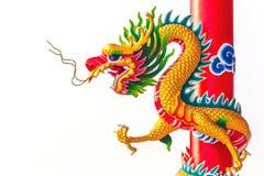Estatua del dragón del estilo chino aislada Imágenes de archivo libres de regalías