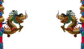 Estatua del dragón del estilo chino aislada en el fondo blanco Fotos de archivo