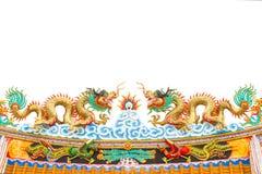 Estatua del dragón del estilo chino en blanco aislada Fotografía de archivo libre de regalías
