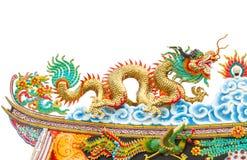 Estatua del dragón del estilo chino en blanco aislada Foto de archivo