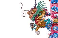 Estatua del dragón del estilo chino en el fondo blanco Fotografía de archivo libre de regalías