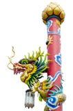 Estatua del dragón del estilo chino en templo Imágenes de archivo libres de regalías