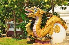 Estatua del dragón en la pared del templo Imagen de archivo