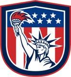 Estatua del escudo de Liberty Holding FlamingTorch Fotografía de archivo libre de regalías