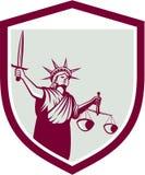 Estatua del escudo de Liberty Holding Sword Scales Justice Imagen de archivo libre de regalías