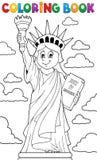 Estatua del libro de colorear del tema 1 de la libertad Fotos de archivo libres de regalías