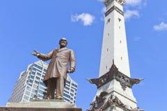Estatua del monumento de Thomas Morton y de los santos y de los marineros, Indiana Imagen de archivo libre de regalías