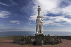 Estatua del monumento nacional de Cabrillo en el punto Loma San Diego California Imagen de archivo
