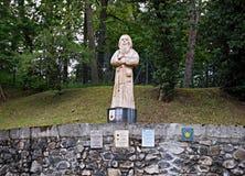 Estatua del peregrino en la manera de San Jaime Foto de archivo