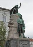 Estatua del poeta esloveno France Preseren en Ljubljana, Eslovenia foto de archivo libre de regalías