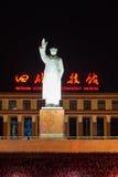 Estatua del presidente Mao en el cuadrado de Tianfu imagen de archivo