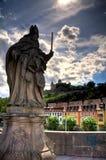 Estatua del St. Kilian y fortaleza de Marienberg, Wurzburg Foto de archivo libre de regalías