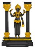 Estatua del vintage de la escultura india de Vishwakarma de dios grabada en piedra ilustración del vector