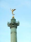 Estatua dorada Genie de la Liberte Imagen de archivo libre de regalías