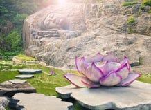 Estatua el dormir Buda en la charca de loto Imagen de archivo libre de regalías
