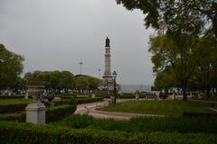 Estatua en Afonso Albuquerque Square In Belem en Lisboa Naturaleza, arquitectura, historia, fotografía de la calle 11 de abril de imagenes de archivo