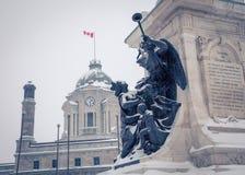 Estatua en la ciudad de Quebec fotos de archivo libres de regalías