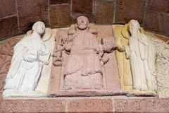 Estatua en la iglesia de Andlau, Francia 9 de julio de 2009 Francia Foto de archivo