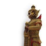 Estatua gigante en puertas delanteras del templo foto de archivo