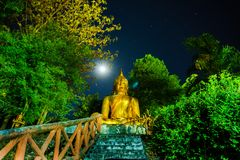 Estatua grande de Buda en el bosque y las estrellas en el cielo Imagen de archivo libre de regalías