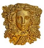 Estatua griega del aplique de la mujer del pelo de la uva con textura de oro Imágenes de archivo libres de regalías