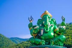 Estatua hindú grande verde de dios de Ganesha Foto de archivo