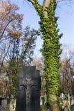 Estatua histórica en el cementerio viejo de Praga del misterio, República Checa imagenes de archivo