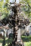 Estatua hist?rica en el cementerio viejo de Praga del misterio, Rep?blica Checa foto de archivo