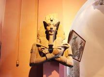 Estatua original de Akhenaten el museo egipcio en El Cairo Imágenes de archivo libres de regalías