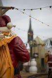 Estatua Papá Noel con el saco Fotos de archivo