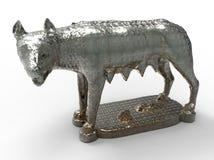 Estatua romana del metal del lobo stock de ilustración