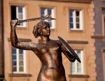 Estatua Varsovia de la sirena foto de archivo libre de regalías