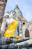 Estatua vieja de Buda en el templo, Autthaya Tailandia Foto de archivo libre de regalías