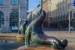 Estatua y fuente de Havis Amanda, en Helsinki Imagenes de archivo
