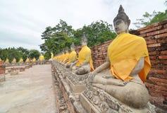 Estatuas de Buda en el templo de Wat Yai Chai Mongkol Imágenes de archivo libres de regalías