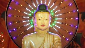 Estatuas de Buda en templo almacen de metraje de vídeo