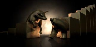 Estatuas de Bull y del mercado bajista ilustración del vector